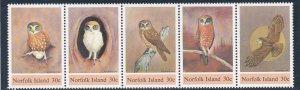 Norfolk Island # 343, Boobook Owls, Strip of Five, NH, 1/2 Cat.