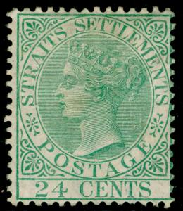 MALAYSIA - Staits Settlements SG16a, 24c yellow-green, M MINT. Cat £350. WMK CC.