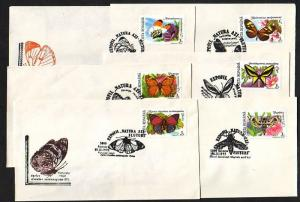 Romania, 1992 issue. 25-30/SEP/92 issue. Butterfly cancels on 6 Cachet covers.