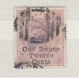 Ceylon QV 1885 1R 12c On 2R 50c SG175 Fine Used J7598