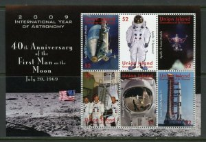 UNION ISLAND 40th ANNIVERSARY OF THE FIRST MAN ON THE MOON  SHEET MINT NH