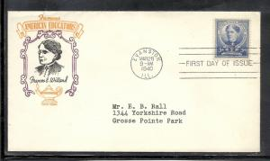 US #872 11B Willard Gundel cachet addressed fdc