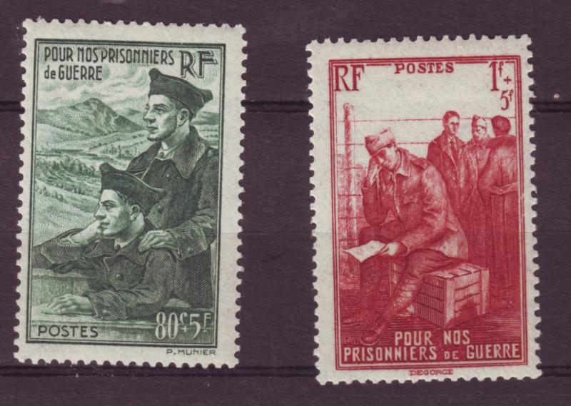 J13264 JLstamps 1941 WWII france set mh #b108-9 prisioners of war