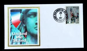 US Stamp Sc# B2 FDC AMERICAN HEROES SEMI-POSTAL 2002 Colorano Silk Cachet