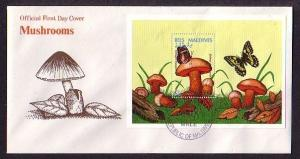 Maldives, Scott cat. 2097. Butterfly & Mushroom s/sheet. First day cover.
