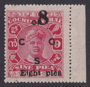 INDIAN STATES COCHIN 1923 ON C G S Varma II 8p/9p MNH **