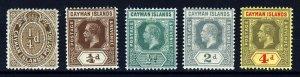 CAYMAN ISLANDS KG V 1912-20 A Wmk Mult Crown CA Part Set SG 38 to SG 46 MINT