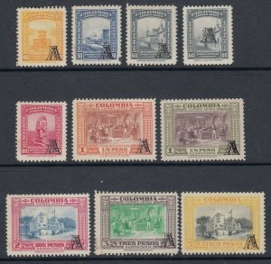 Colombia 1951-54 AVIANCA Small 'A' Overprint Complete LM Mint. Scott C208-C216