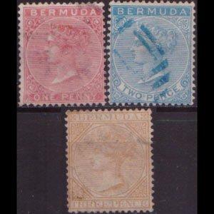 BERMUDA 1865 - Scott# 1-3 Queen Victoria 1-3p Used