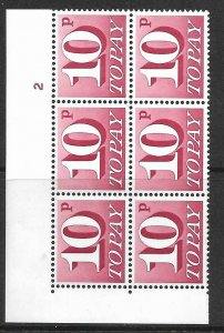 Sg D84a 10p 1970 Decimal Postage Due Cyl 2 No dot with variety UNMOUNTED MINT