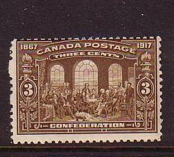 Canada Sc 135 1917 3 c Confederation stamp mint NH