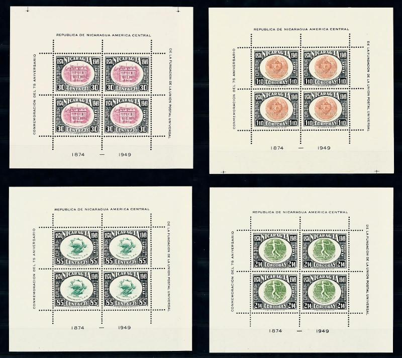 [49186] Nicaragua 1950 Complete set of 12 Souvenir Sheets 75 Years UPU MNH