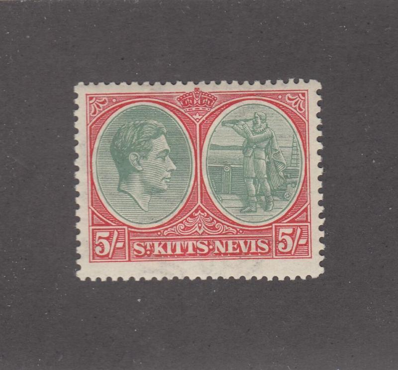 ST KITTS AND NEVIS # 88a KGV1 5sh MLH CAT VALUE $47.50