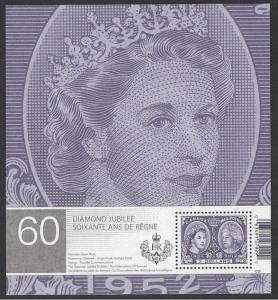 Canada #2540a MNH ss, Queen Elizabeth II diamond jubilee, issued 2012