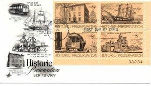 US FDC #1443a Historic Preservation Plate Block, ArtCraft (3997)