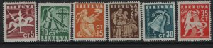 LITHUANIA, 317-322, (6)SET, HINGED, 1940, WHITE KNIGHT