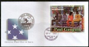 Micronesia 2003 Paul Gauguin Paintings Art Sc 558 M/s FDC # 16563