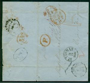 DANISH WEST INDIES 1856 SFL Frederiksted via St. Tho-London-Hamburg to DENMARK