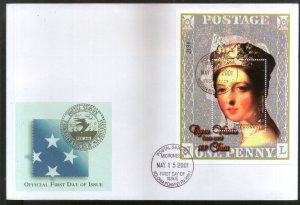 Micronesia 2001 Queen Victoria Penny Black Stamp on Stamp Sc 444 M/s FDC # 9408