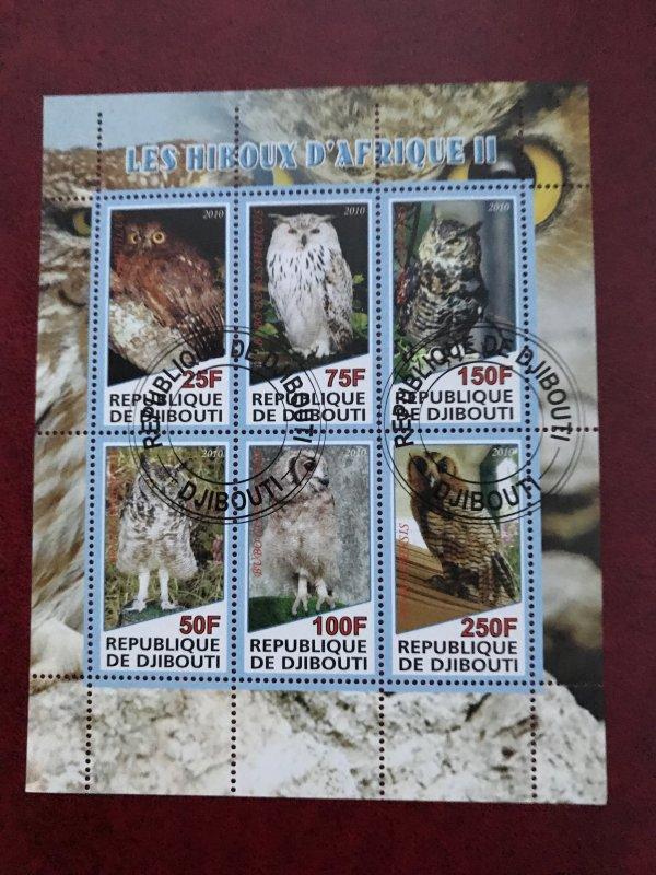 Djibouti Used CDS bird Souvenir sheet of 6, Owls