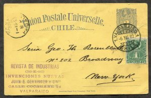 1407 - CHILE 1892 Uprated Postal Card to USA. Rosenblatt
