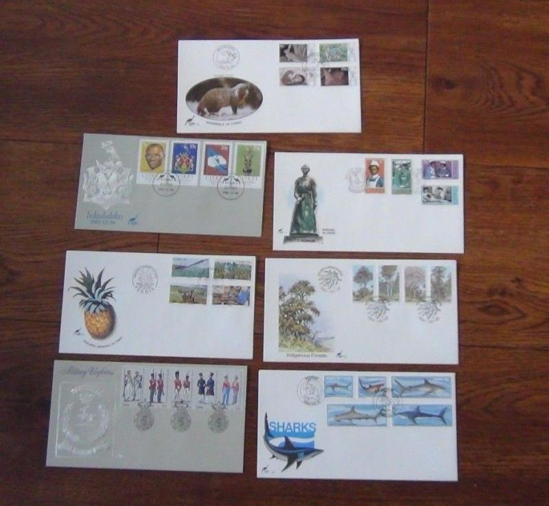 Ciskei 7 FDCs 1981 1983 Sharks Trees Mammals Nursing Uniforms Independence etc