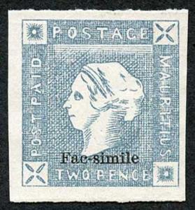 Mauritius Two Pence Lapirot Facsimile (probably 1904/13 Francois Fournier)