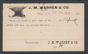 US Sc UX9 1887 Illustrated Advertising Card, JM Warren Co of Troy, NY Blacksmith