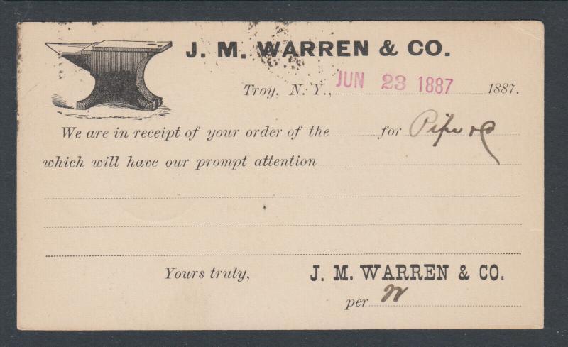 US Sc UX9 1887 Illustrated Advertising Card, JM Warren Co of Troy, NY Blacksmith