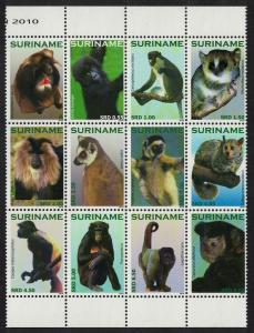 Suriname Primates 12v Sheetlet SG#2875-2886