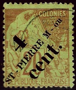 St. Pierre & Miquelon Sc #42 Used Fine hr...French Colonies are Hot!