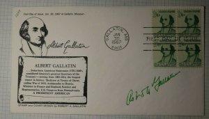 US FDC Sc# 1229 Albert Gallatin Signed By Designer Gallatin MO 1967