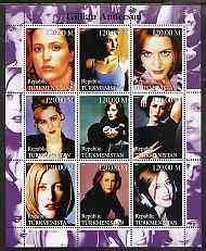 Turkmenistan 2000 Gillian Anderson perf sheetlet containi...