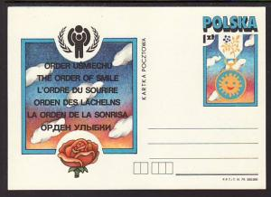 Poland The Order of Smile IYC Unused Postal Card