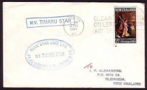 NEW ZEALAND 1969 cover ship cachet MV TIMARU STAR..........................31015