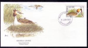 Sierra Leone FDC SC# 1233 Great Crested Grebe L315