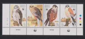 Malta WWF Migratory Birds of Prey Strip of 4v with WWF Logo SG#898-901
