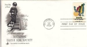 1969, 50th Anniv. National Easter Seal Society, Artcraft, FDC (D13047)