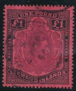 1938 LEEWARD ISLANDS - S.G:114 - KGVI - £1 BROWN PURPLE & BLACK RED -  USED