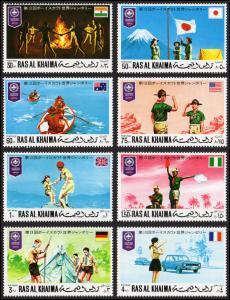 Ras Al Khaima Mi #519-526 set/8  mnh - 1971 World Scout Jamboree Japan