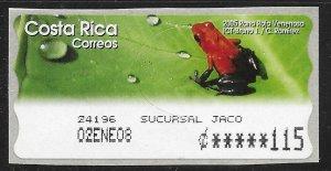 Costa Rica 115c Red Frog - Rana Raja Veneosa ~ MNH