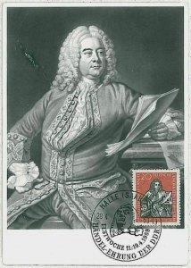 32329  - GERMANY DDR  - POSTAL HISTORY -- MAXIMUM CARD Music Handel 1959