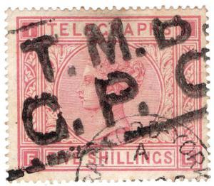 (I.B) QV Telegraphs : 5/- Rose (plate 1) Bradford