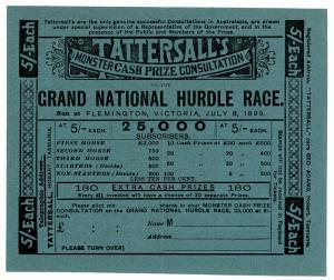 (I.B) Australia Cinderella : Tattersall's Ticket 5/- (Flemington 1899)