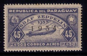 PARAGUAY #C92 AIIRSHIP GRAF ZEPPELIN MINT ,VERY LH , OG OVERPRINTED 1934 VF/XF