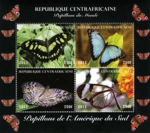 Central African Republic 2011 Butterflies South America Sheet Perforated mnh.vf