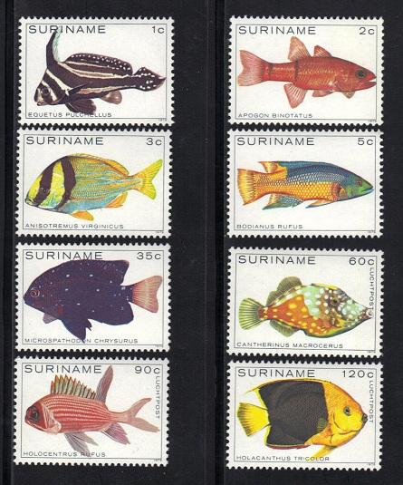 Suriname MNH Set Of 8 Fish Complete Set 1979