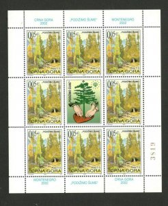 MONTENEGRO - MNH SMALL SHEET - NATURE - LET'S RAISE THE FORESTS - 2002.