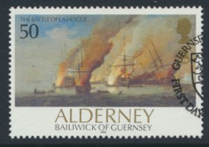 Alderney  SG A55  SC# 68  Ships Battle La Hogue Used First Day Cancel - as pe...