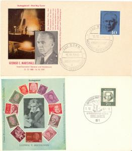 Germany 1960 George Marshall and Beethoven  First Day covers  VF
